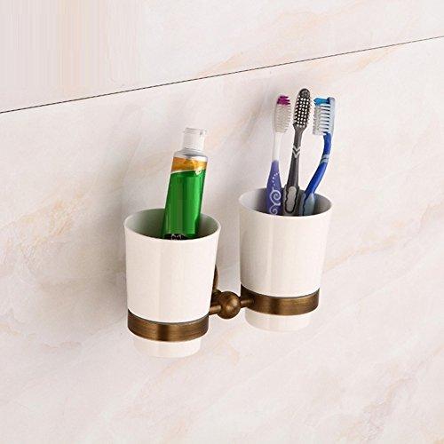 ZHUCHANGJIANG ZC&J Continental cuivre bouche tasse antique porte-gobelet pur cuivre créatif double porte-gobelet accessoires de salle de bains matériel