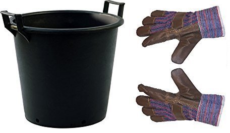 Large Plastic Plant Pot with Handles Outdoor Garden Tree Planter Container + GLOVES (50 Litre)
