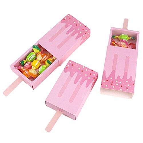 LnLyin 10stück Eiscreme Formen mit Schubladen-Geschenk für Baby-Shower, für Baby Shower, Dekoration, Eiscreme-Party, Papier, rose, Einheitsgröße