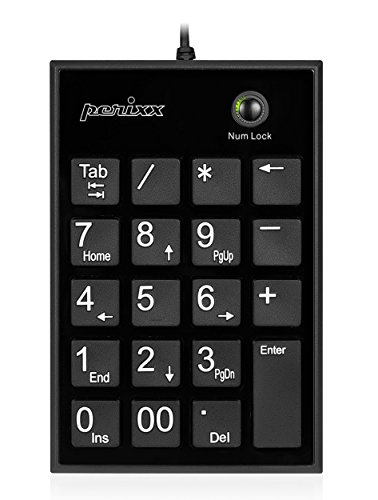 Perixx PERIPAD-202H Pavé Numérique Pour PC - 2 Hubs - Touche Tab - USB - Noir