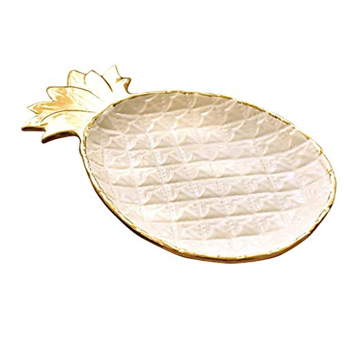 Schauen Sie Lagerung Display Box, Schmuck Ständer Multifunktions-Platte Ananas Keramik-Aufbewahrungsbehälter, Weiss -