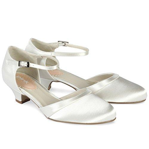 Paradox London Pink Avorio Satin Paisley punta rotonda scarpe da sposa tacco basso Ivory