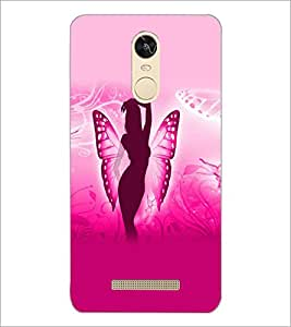 PrintDhaba Butterfly Girl D-5585 Back Case Cover for XIAOMI REDMI NOTE 3 (MEDIA TEK) (Multi-Coloured)