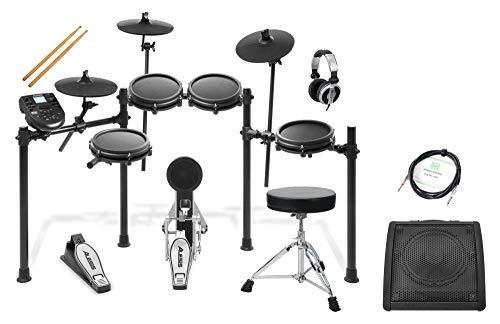Alesis Nitro Mesh Kit Deluxe Set (Achtteiliges elektronisches Schlagzeug mit Mesh Heads, 40 Kits & USB/MIDI-Anschluss, Deluxe Set inkl. Drum Monitor, DJ-Kopfhörer, Drum Hocker & Instrumentenkabel)