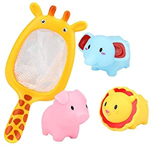 ForgetMe Toy Baby Bathing Floating Soft Rubber Animals Water Tub Toy Squirts Spoon-Net 3 Set Baby Bathroom Pool Bath Toy Accessory for Kid