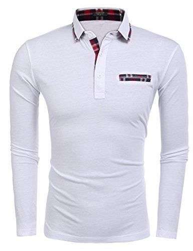 Coofandy Herren Poloshirt Shirt Langarmshirt Weiß