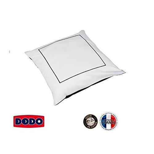 Dodo Taie d'oreiller bicolore en satin de Coton Noir/Blanc 65 x 65 cm
