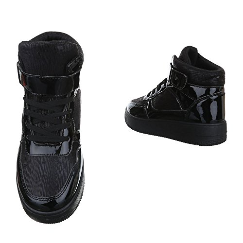 High-Top Sneaker Damen Schuhe High-Top Keilabsatz/ Wedge Sneakers Schnürsenkel Ital-Design Freizeitschuhe Schwarz