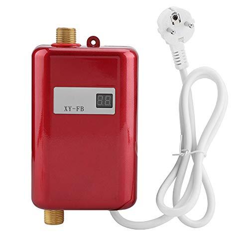Chauffe-Eau Electrique 220V 3400W Chauffe-Eau Instantané Convient pour convertir de l'Eau Froide en Eau Chaude Température de Débit d'Eau Réglable pour Cuisine Salle de Bain(Red)