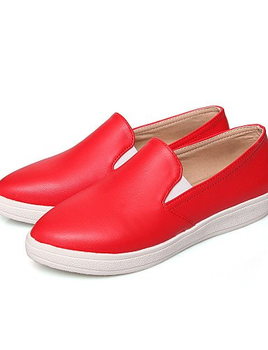 ZQ Scarpe Donna Finta pelle Piatto A punta Mocassini Casual Nero/Rosso/Bianco , white-us6.5-7 / eu37 / uk4.5-5 / cn37 , white-us6.5-7 / eu37 / uk4.5-5 / cn37 black-us5 / eu35 / uk3 / cn34
