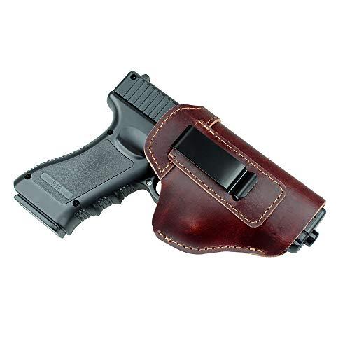 Gexgune Jagdholster Pistolenhalfter aus Leder für Glock 17 19 21 23 26 Beretta 92 Sig Sauer P226 SP2022 Taktische verborgene IWB (Braun) (Glock 19 Holster Clip)
