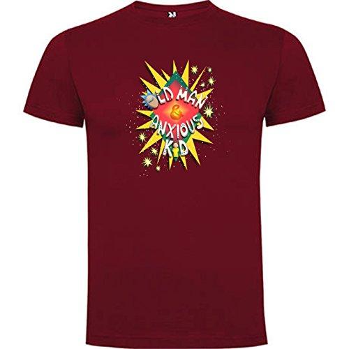 Camiseta de Rick and Morty Divertida Friky Smith Tiny Hombre M Granate