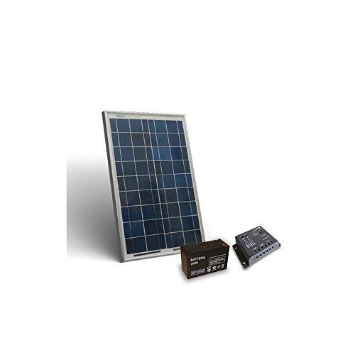 Foto de Kit Solar Pro 10W Placa Solar Regulador de Carga 5A PWM Bateria AGM 12Ah 12V