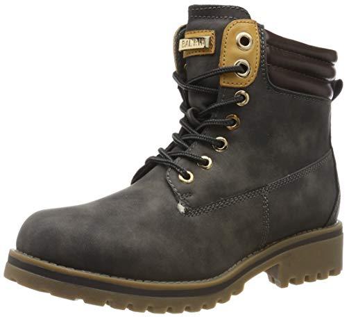 Warm Gefütterte Stiefeletten Damen Worker BootsOutdoor Winterstiefel Schnür Wildleder-Optik Schuhe 125748 Grau 39 Flandell