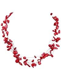 Multi-hilos TreasureBay one blank rojo Coral collar con colgante en forma con cierre de broche con forma longitud: 48,26 cm/48 cm