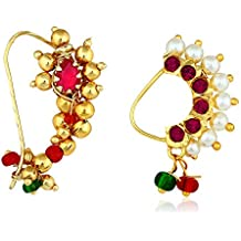 Amaal Traditional Jewellery Gold Plated Maharashtrian Wedding Combo Nose pin/Nath Nose Ring for women girls (2 pcs) -NATH COMBO-A704