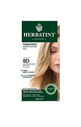 Tinta per capelli colorazione permanente senza ammoniaca naturale herbatint 135 ml n. 8 d colore biondo chiaro dorato