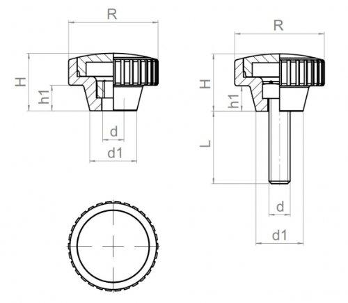 4 Stück Rändelmutter M 6