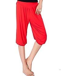 Cayuan Harem Pantalones del Verano Mujer Holgados 3/4 Largo Yoga Pilates Danza Pantalón Polainas Suave y Transpirable Rosado
