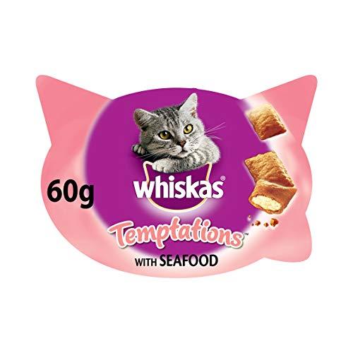Whiskas Knuspertaschen für ausgewachsene Katzen - kalorienarme Knusper-Snacks für Katzen in der Geschmacksrichtung Meeresfrüchte / 8 Schalen (8 x 60 g)