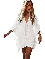 CTHEE Mujeres de Sólidos de gran tamaño Bikini trajes de baño Cubierta de la Playa Vestido de Camisa de Vestir