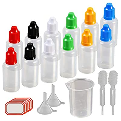 Dropper Bottles,KAKOO 12 Pcs 30ml Plastic Squeezable Liquid Bottle with Childproof Cap,Thin Tip,Funnel,Measuring Cup,Pipette for E-liquids DIY Craft from KAKOO