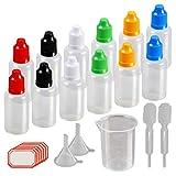 12 pcs Flacons Compte-gouttes, KAKOO 30ml Bouteilles liquides Fiole vide en plastique avec entonnoire gobelet gradué pour e-liquides,DIY craft