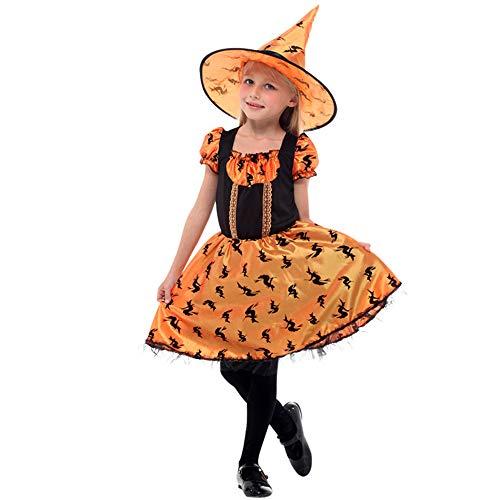 QINGQING Fee Kostüm Set mit Hexe Hut für Mädchen Alter 5-12 Party Kleider + Hexenhut Kinder Mädchen Halloween Kleidung Kostüm (Size : M(5-7years))