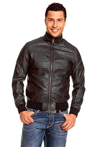 Ganeder Herren Jacke in Lederoptik, Farbe:Schwarz, Größe:S
