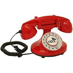 OPIS FunkyFon cable: Teléfono con disco de marcar en el estilo sinuoso de la década de 1920, con un timbre electrónico moderno (rojo)