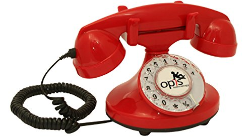 OPIS FunkyFon cable: Retro Telefon mit Wählscheibe in geschwungenem 1920er Stil mit elektronischer Klingel (rot)