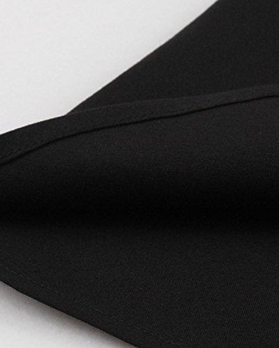 ZAFUL Damen Elegant Abendkleid 3/4 Ärmel Cocktailkleid Vintage Schwan Swing Kleid mit Gürtel Schwarz mit Stickerei ohne Gürtel