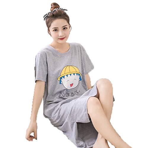Chqin Frauen Rundhals Kurzarm Langes Kleid Lose Cartoon Druck Pyjamas Bademntel Homewear Nachthemd Kurzarm koreanische Version