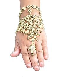 Bauchtanz Belly Dance Handschmuck Sklavenarmband Gold Münzen Armreif Armspange