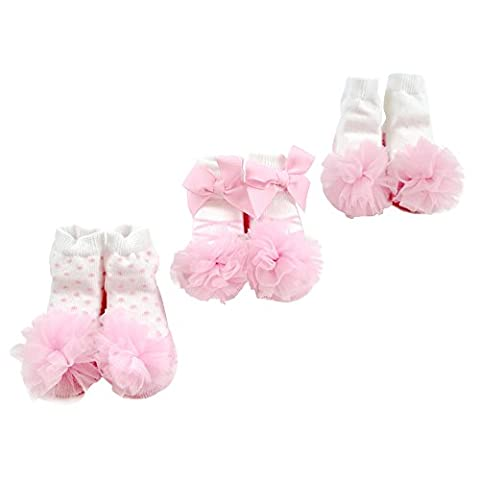 Sanlutoz Baby Girls' Socks Gift Set 3 Pairs Newborn Infant Sock Sets (0-12M, SOCKPK004 FENJING+FENSA D+FENSA