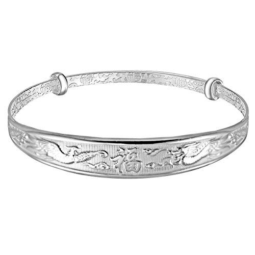 15% Rabatt mecool S999 Sterling Silber verstellbar Manschette Armband DRAGON Phoenix geschnitzt Armreif Armband