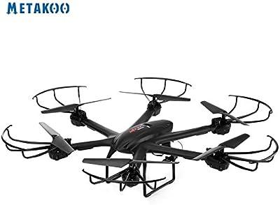 Metakoo Drone Control Remoto Quadcopter con Cámara HD 2,4 GHz 4 Canales 6 Axis Gyro RC Quadcopter Headless Modo Flip 3D X601 (negro)