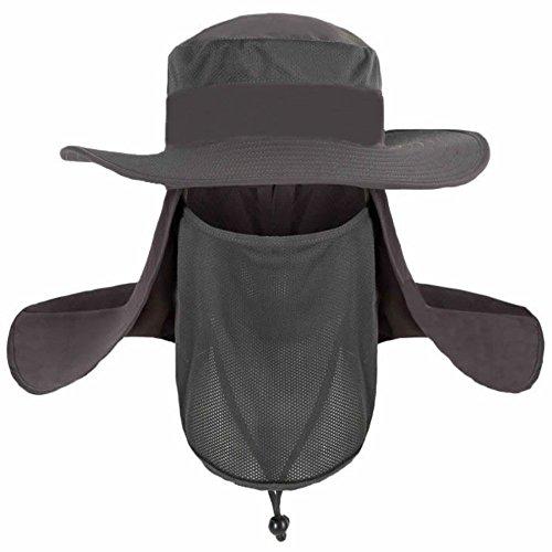 Schutzkappe Sonnenhut mit breiter Krempe Hut Anti UV-Schutz 360° für Frauen Männer Jagd Camping Angeln Wandern (Kostüm Mädchen Maske Ski)