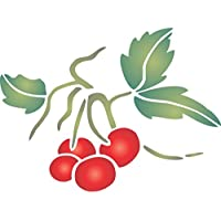 Ciliegia, (misura 15x 11,5cm) riutilizzabile stencil per pittura–migliore qualità frutta cucina Stencil idee–Utilizzare su pareti, Pavimenti, tessuti, vetro, legno, terracotta, e più...