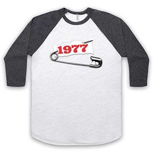 Punk Pin 1977 3/4 Hulse Retro Baseball T-Shirt Weis & Dunkelgrau
