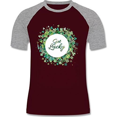 Shirtracer Festival - Get Lucky Kleeblatt Glück St. Patrick's Day - Herren Baseball Shirt Burgundrot/Grau meliert