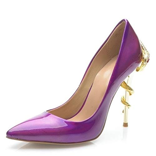 Dress Pump High Heel Patent Pumps für Frauen Slip on Formale Sandalen Stiletto Pointed Echtes Leder Upper Anti Slip Gummisohlen 10cm Absatz Dekor mit Golden Snake ( Color : Purple , Size : 39 EU ) Purple Snake Schuhe