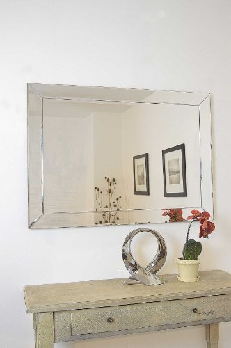 Large Modern Silver Single Edge Venetian Wall Mirror 3ft7 x 2ft7