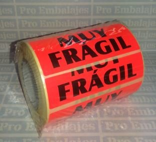 500 Etiquetas MUY FRAGIL -Tamaño 94x38 mm. - Papel