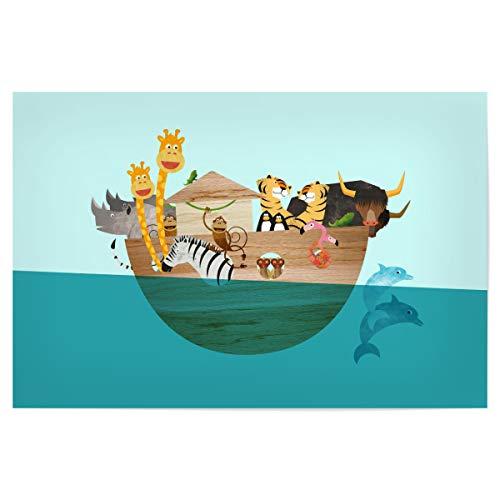 artboxONE Poster 60x40 cm Für Kinder Alle an Bord - Bild Kinderzimmer Arche Noah Giraffen