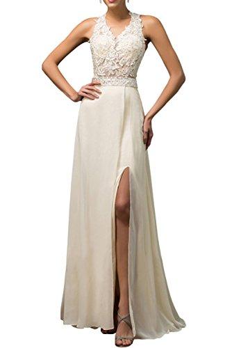 Gorgeous Bride Sexy Brautkleider Lang Chiffon Spitze Tüll A-Linie Abendkleider Lang Cocktailkleider Ballkleider Elfenbein