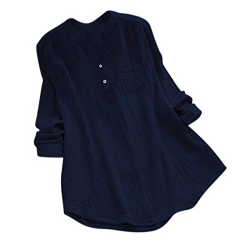 Tops & Shirts für Damen,Shopaholic0709 Damen Frauen Langarm V-Ausschnitt Lose Top Oberteile Langärmliges Chiffonhemd V-Ausschnitt Manschetten-Ärmel Locker Oberteile Damen Baumwolle Tops