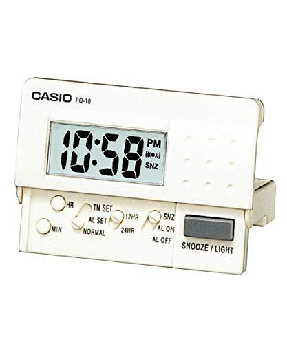 Reloj Despertador CASIO PQ-10-7E - Despertador Digital de viaje con luz y repetición. Color blanco