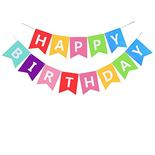 """@ Kit Decorazione Festa di Compleanno, Striscione """"Happy Birthday"""" con 6 Sfere a Nido d'ape e una Decorazione di Carta Arcobaleno, Party kit prezzo"""