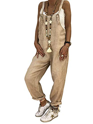 Tomwell Womens Baggy Latzhose, Casual Loose Overall Vintage Jumpsuit Spielanzug Strap Belt Bib Hosen Hosen Lange Wide Leg Hosen Khaki DE 38